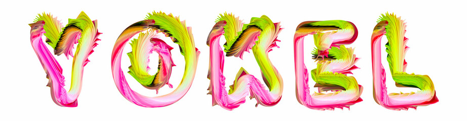 Yokel - pink and green text written on white background