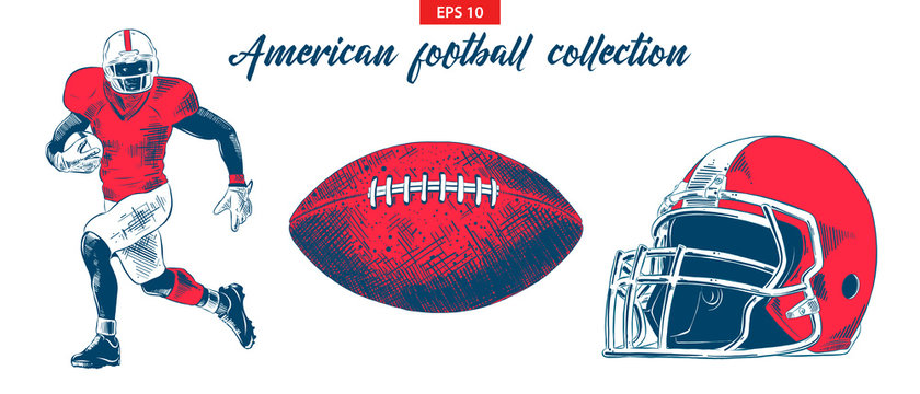 Vector engraved style illustration for posters, decoration. Hand drawn sketch of american football player, ball and helmet set isolated on white background. Detailed vintage etching drawing.