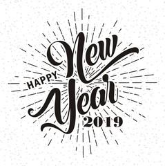Happy new year 2019 on grunge background