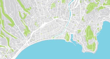 Urban vector city map of Nice, France