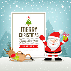 Merry Christmas banners sale santa claus and reindeer design on snowflake blue background, vector illustration