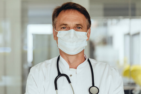 Portrait of a doctor, wearing surgical mask