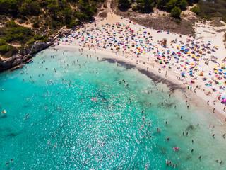 spain, Balearic Islands, Mallorca, Aerial view of Cala Mondrago and Playa Mondrago, Mandrago Nature Park