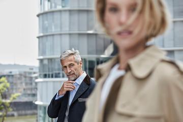Germany, Duesseldorf, portrait of  mature businessman outdoors