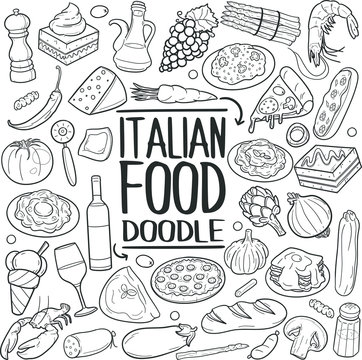 Italian Food Restaurant Traditional Doodle Icons Sketch Hand Made Design Vector
