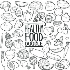 Healthy Food Vegetables Traditional Doodle Icons Sketch Hand Made Design Vector