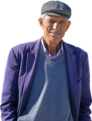 close-up portrait of happy senior man looking at camera with isolated background. Elderly Turkish Man Portrait who lives in a small town of Turkey.