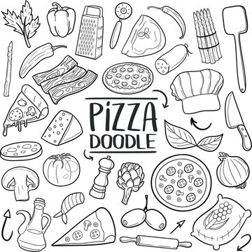 Pizza Pizzeria Restaurant Ingredients Traditional Doodle Icons Sketch Hand Made Design Vector