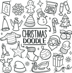 Happy Christmas Traditional Doodle Icons Sketch Hand Made Design Vector