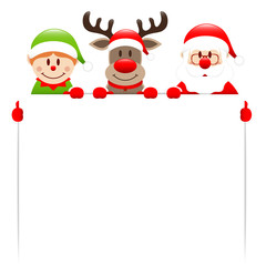 Elf, Rudolph & Santa Label