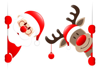 Santa & Rudolph Christmas Ball Banner