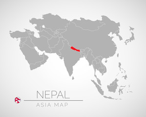 Map of Asia with the identication of Nepal. Map of Nepal. Political map of Asia in gray color. Asia countries. Vector stock.
