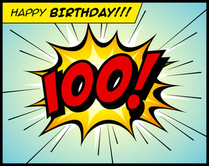 Happy Birthday postcard, in a vintage style comic book bubble sound effect  - Vector EPS10.