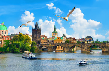 Fototapete - Vltava river and bridge
