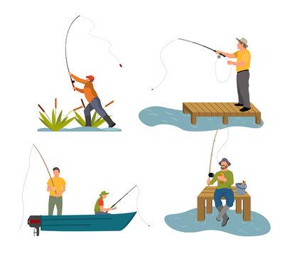 Fishery Rod in Men Hand Set Vector Illustration