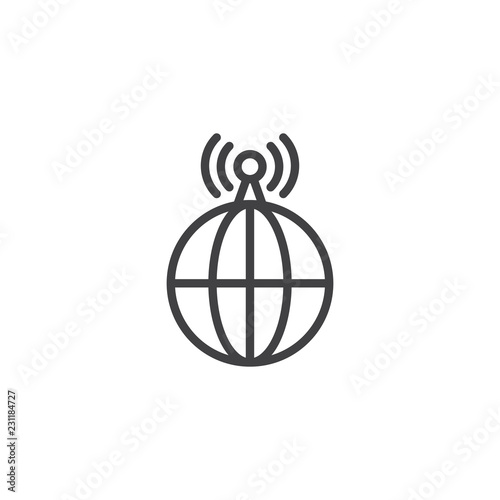 World Wide Internet Signal outline icon  linear style sign for