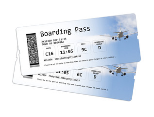 Airline boarding pass tickets isolated on white - The contents of the image are totally invented.