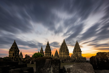 Magnificent Prambanan Temple view with coudy sunset background