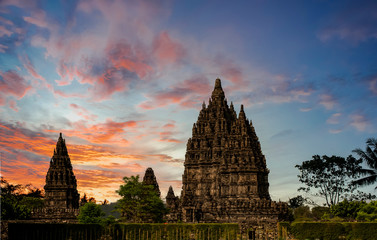 Magnificent Prambanan Temple view with cloudy sunset background