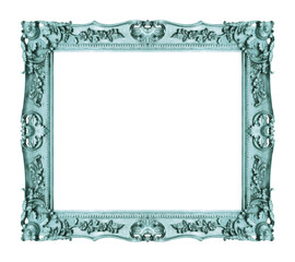 Antique blue frame isolated on white background, clipping path