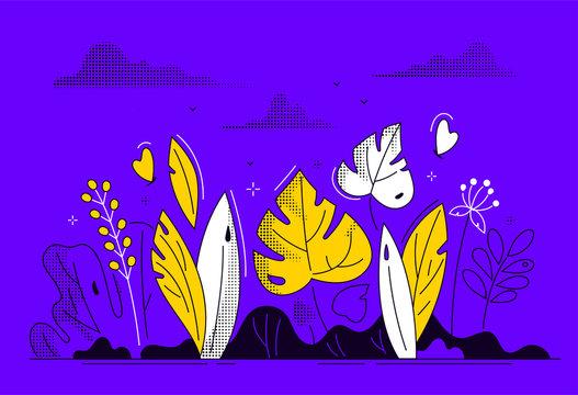 Floral composition - modern flat design style illustration