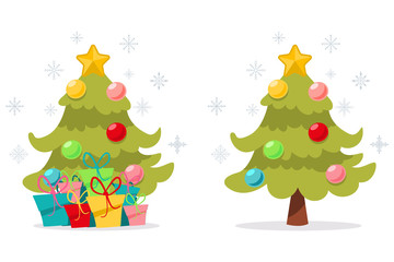 Cartoon Christmas tree with gifts decorated colorful balls, snowflakes and a star on top. Vector illustration isolated on white background.