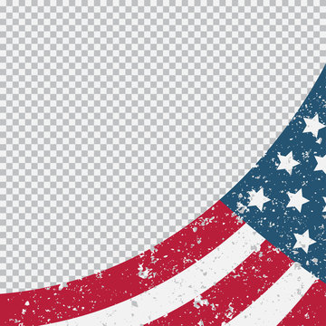 American grunge flag vector illustration isolated on transparent background.