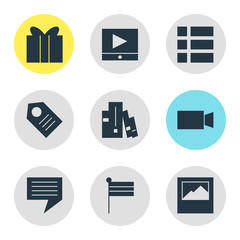 Vector illustration of 9 web icons. Editable set of tag, video player, camcorder and other icon elements.