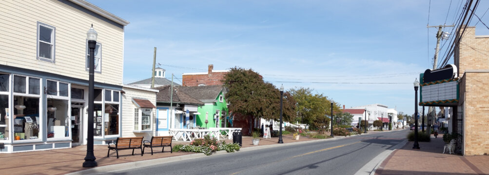 Vintage small coastal island town main street. Chincoteague, Virginia.