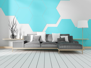 Room with sofa and blue hexagonal tile wall. 3D rendering