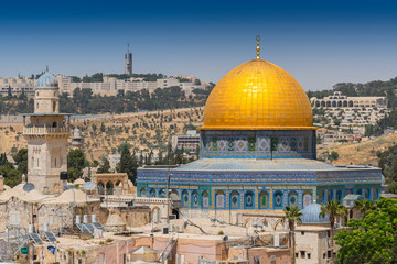 View from the old city of Jerusalem on the Dome of the Rock, Israel. Wall mural