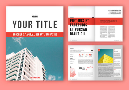 Brochure/Magazine Layout with Red Accents