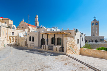 View on the old street and Greek Byzantine Catholic Church in Bethlehem. Palestinian territories. Israel.
