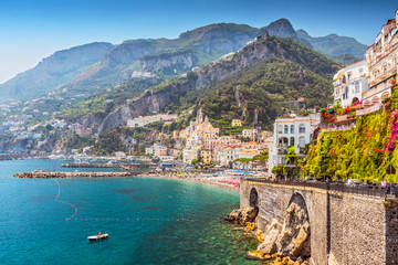 View of the beautiful town of Amalfi at famous Amalfi Coast with Gulf of Salerno, Campania, Italy.