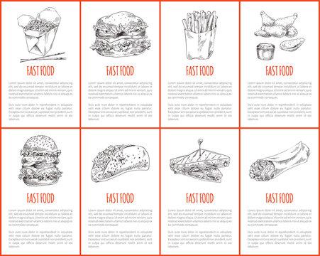 Fast Food Hamburger and Fries Vector Illustration