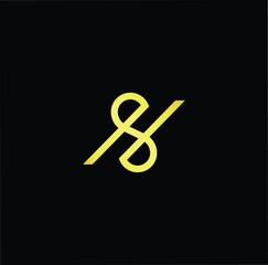 Initial letter S HS SH minimalist art logo, gold color on black background.