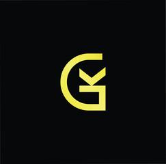 Initial letter GK KG minimalist art logo, gold color on black background.
