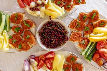 Traditional Romanian Food platter brunch with vegetables and cheese