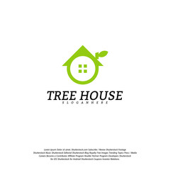 Tree House logo vector template. Leaf House logo