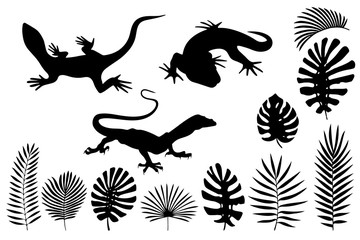 Silhouettes of lizards, gecko and tropical leaves