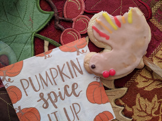 Thanksgiving Turkey cookie on dinner table