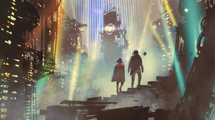 Aluminium Prints Grandfailure couple in the futuristic city at night with buildings and light beams, digital art style, illustration painting