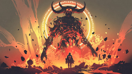 Zelfklevend Fotobehang Grandfailure knight with a sword facing the lava demon in hell, digital art style, illustration painting