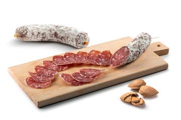 Salame on cutting board