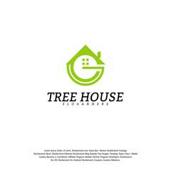 Letter G House logo vector template. House logo