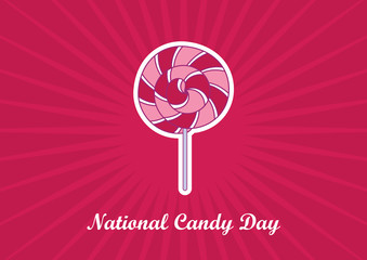 National Candy Day vector. Pink and white spiral lollipop. Strawberry round lollipop on a pink background. American holiday