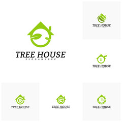 Set of Tree House logo vector template. Leaf House logo