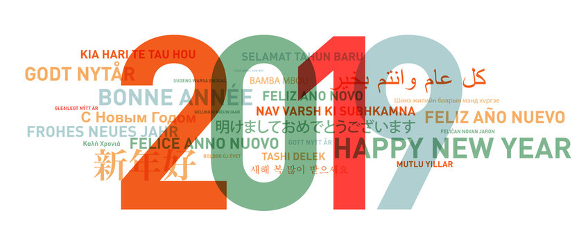 2019 Happy new year card from the world