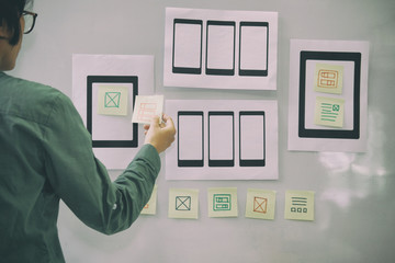 user experience UX designer designing web on mobile phone tablet layout. UI planning mobile application. developer work with business prototype