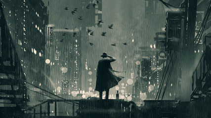 Tuinposter Grandfailure film noir concept showing the detective holding a gun to his head and standing on roof top at rainy night, digital art style, illustration painting